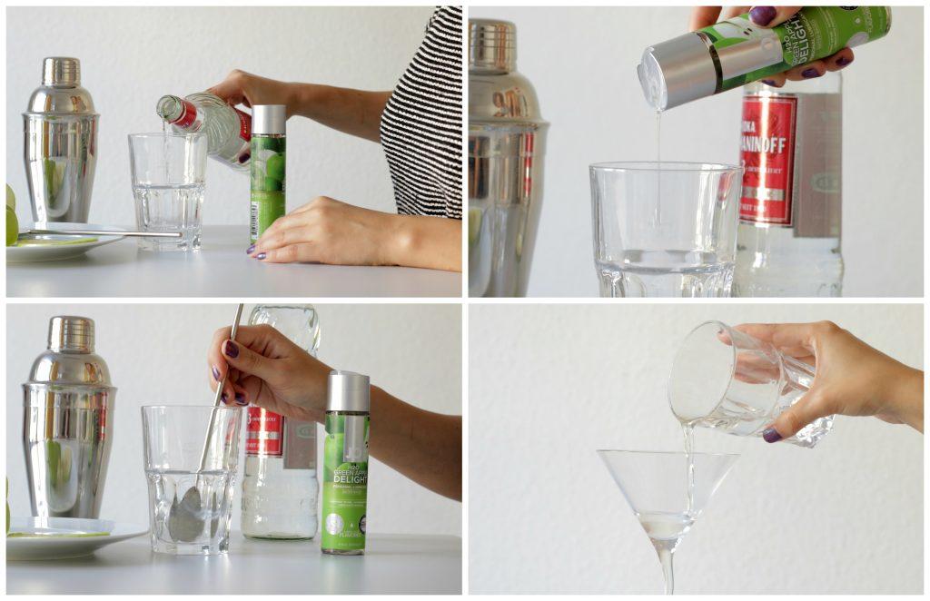 Schrittanleitung für einen Appletini mit JO Cocktail-Gleitgel.